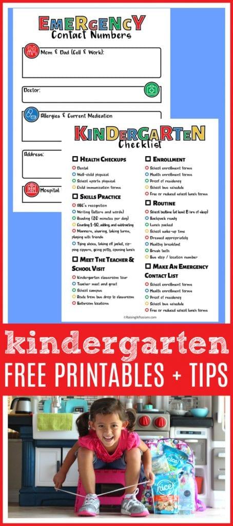Free kindergarten printable