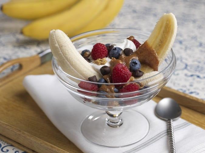 Healthy banana split
