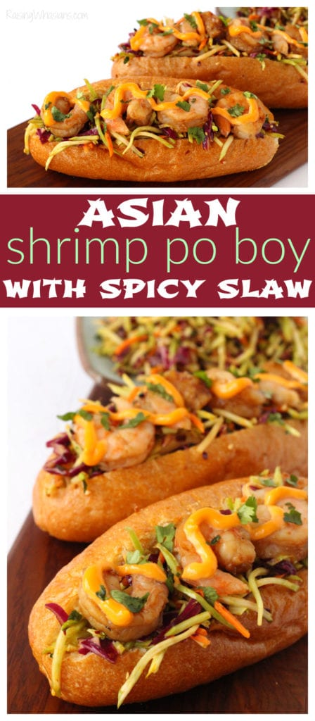 Bring authentic flavor to your Asian fusion cooking! Asian Shrimp Po Boy with Spicy Slaw Recipe, made with secret ingredient Lee Kum Kee Chui Chow Chili Oil #Dinner #Lunch #Recipe #DinnerRecipe