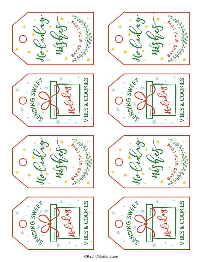 Free Christmas cookie tags printable