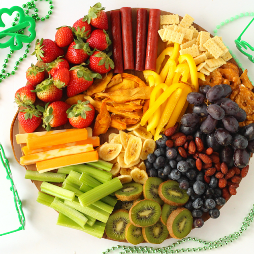 Rainbow cheese board for kids