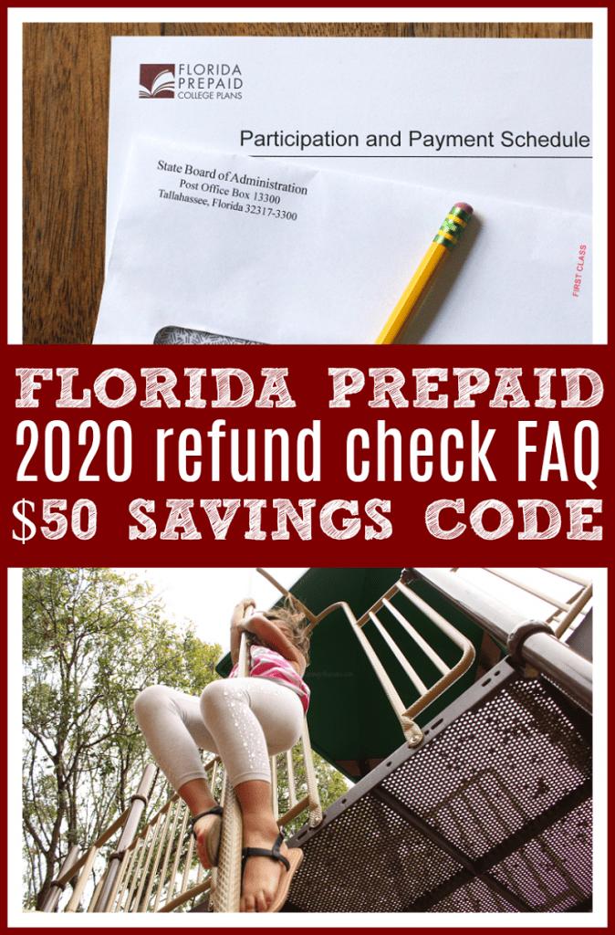 Florida prepaid refund check info