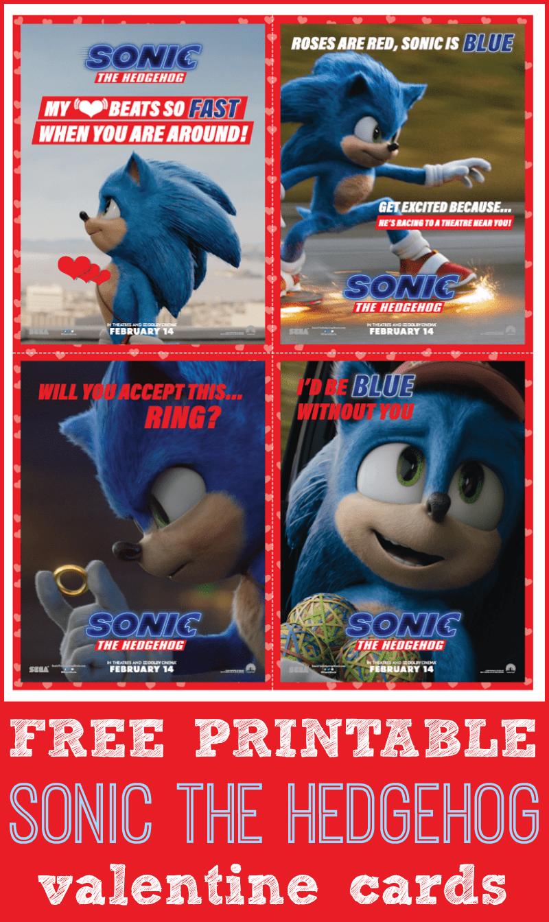 Free printable sonic the hedgehog valentines