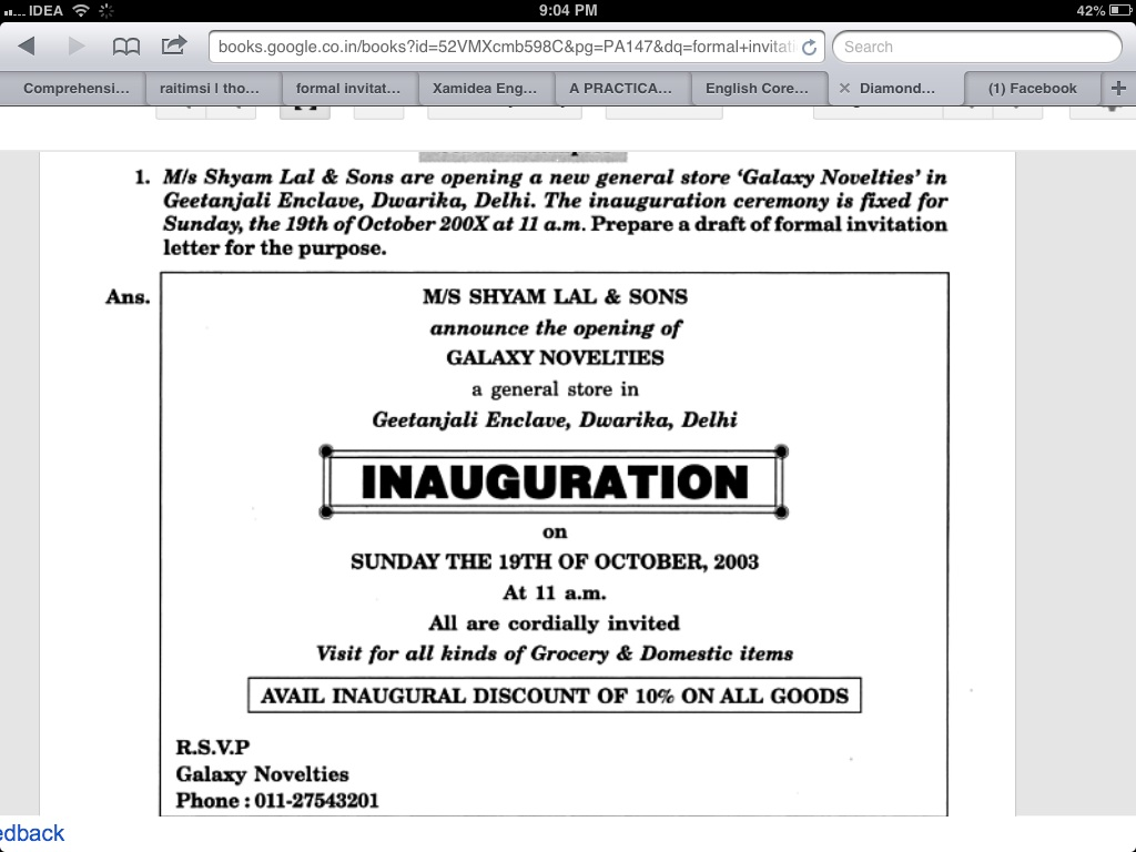 invitation formal invitation card