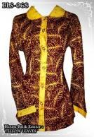 blouse batik kantor wanita lengan panjang kuning