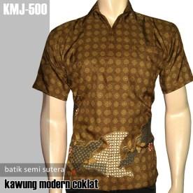 KMJ-500 Kemeja Batik SemiSutera - Kawung Modern COKLAT