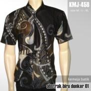 KMJ-548 Kemeja Batik Pria - Abstrak Biru Donker 01