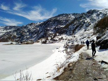 Walkway near the frozen tsomgo lake at 12,300 ft above sea level. Tsomgo lake is the first attraction of the Old silk route.