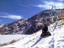 Buddhist flags near tsomgo lake