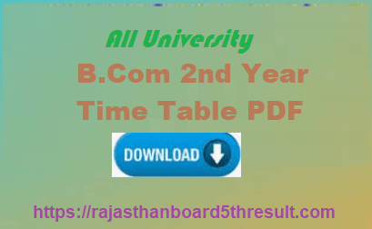 B.Com 2nd Year Time Table 2020
