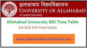 Allahabad University BSC Time Table 2020