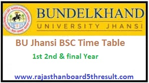 BU Jhansi BSC Time Table 2020