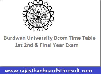 Burdwan University Bcom Time Table 2021