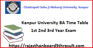 Kanpur University BA Time Table 2020