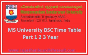 MS University BSC Time Table 2021