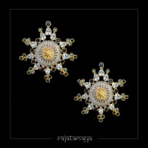 RM027 – 5500- Statement Silver Studs with Gemstones – PIc 1