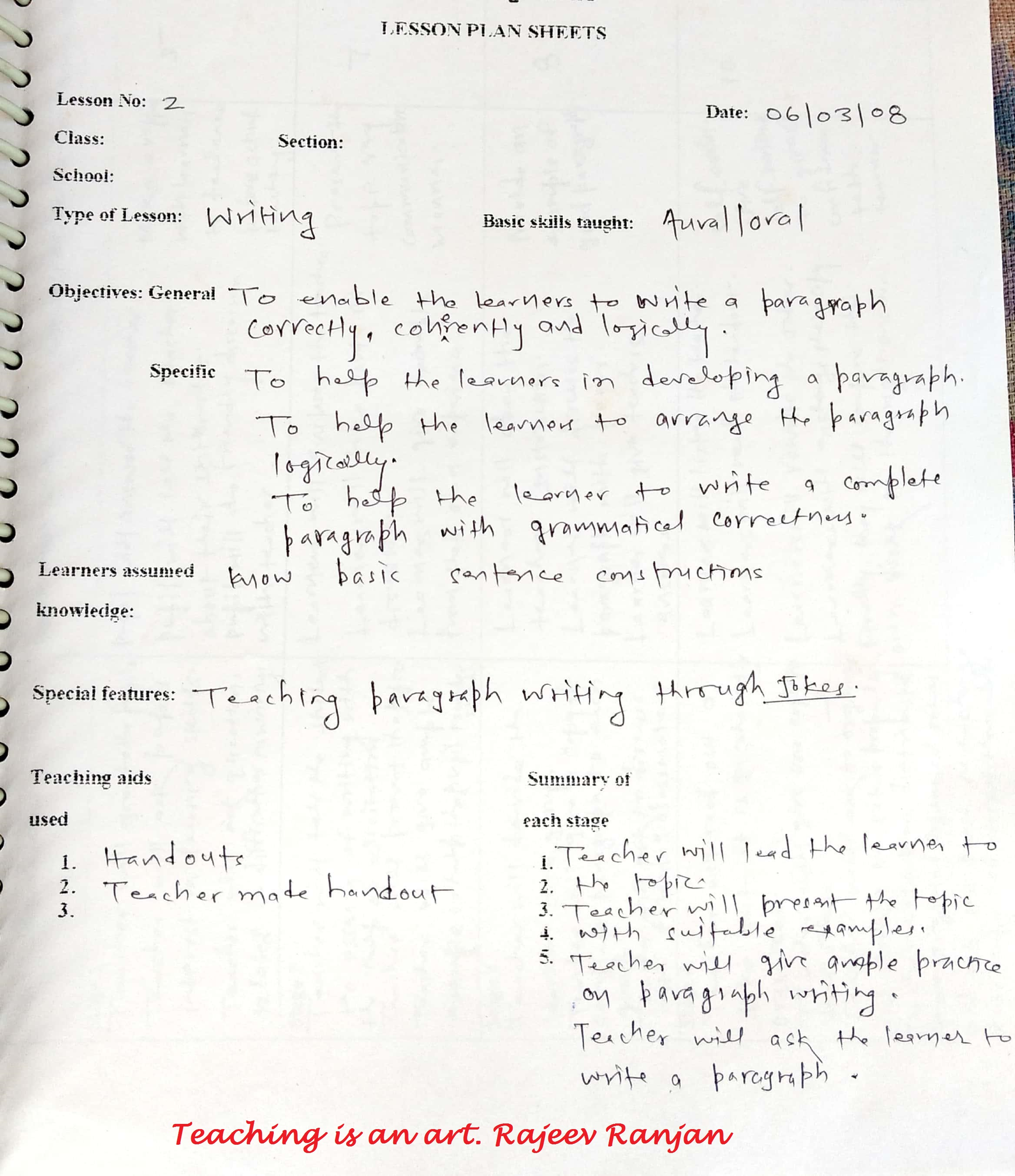 Planning A Lesson English Language Teaching Developing Writing Skill Example School Education