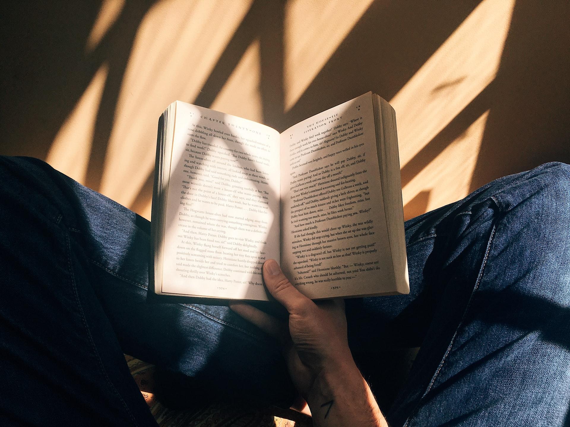 Zdjęcie prezentujące czytanie książki