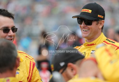 Jun 5, 2016; Detroit, MI, USA; Andretti Autosport driver Ryan Hunter-Reay (28) of United States laughs before the Chevrolet Dual in Detroit Race 2 at The Raceway at Belle Isle Park. Mandatory Credit: Raj Mehta-USA TODAY Sports