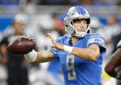 Oct 8, 2017; Detroit, MI, USA; Detroit Lions quarterback Matthew Stafford (9) throws the ball during the first quarter against the Carolina Panthers at Ford Field. Mandatory Credit: Raj Mehta-USA TODAY Sports