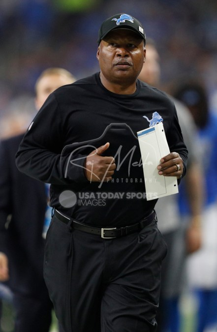 Oct 8, 2017; Detroit, MI, USA; Detroit Lions head coach Jim Caldwell runs off the field just after the second quarter against the Carolina Panthers at Ford Field. Mandatory Credit: Raj Mehta-USA TODAY Sports