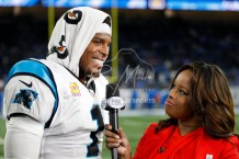 Oct 8, 2017; Detroit, MI, USA; Carolina Panthers quarterback Cam Newton (1) smiles during a post game interview with Pam Oliver after the game against the Detroit Lions at Ford Field. Mandatory Credit: Raj Mehta-USA TODAY Sports