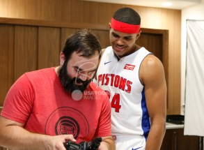 Sep 25, 2017; Detroit, MI, USA; Detroit Pistons forward Tobias Harris (34) smiles as he looks at some photos with Chris Schwegler during media day at The Palace of Auburn Hills. Mandatory Credit: Raj Mehta-USA TODAY Sports