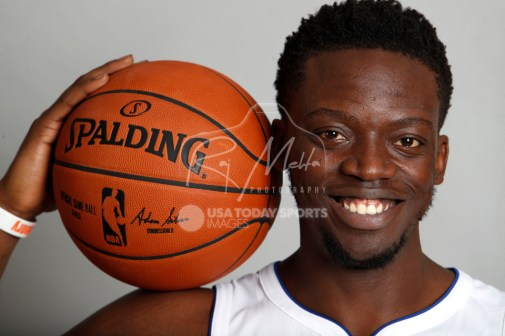 Sep 25, 2017; Detroit, MI, USA; Detroit Pistons guard Reggie Jackson (1) poses for a photo during media day at The Palace of Auburn Hills. Mandatory Credit: Raj Mehta-USA TODAY Sports