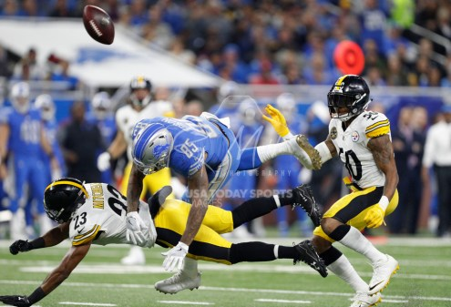 Oct 29, 2017; Detroit, MI, USA; Pittsburgh Steelers free safety Mike Mitchell (23) and inside linebacker Ryan Shazier (50) break up a pass to Detroit Lions tight end Eric Ebron (85) during the first quarter at Ford Field. Mandatory Credit: Raj Mehta-USA TODAY Sports