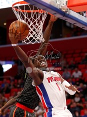 Nov 10, 2017; Detroit, MI, USA; Detroit Pistons guard Reggie Jackson (1) goes up for a shot against Atlanta Hawks forward Taurean Prince (12) during the second quarter at Little Caesars Arena. Mandatory Credit: Raj Mehta-USA TODAY Sports