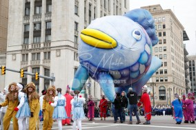 Nov 23, 2017; Detroit, MI, USA; A float of a fish travels down Woodward Avenue during America's Thanksgiving Day Parade before the game between the Detroit Lions and the Minnesota Vikings at Ford Field. Mandatory Credit: Raj Mehta-USA TODAY Sports