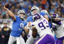 Nov 23, 2017; Detroit, MI, USA; Detroit Lions quarterback Matthew Stafford (9) throws the ball during the second quarter against the Minnesota Vikings at Ford Field. Mandatory Credit: Raj Mehta-USA TODAY Sports