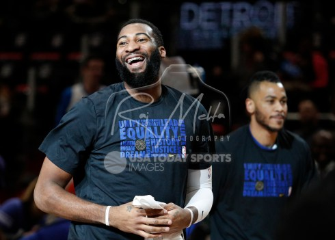 Feb 14, 2018; Detroit, MI, USA; Detroit Pistons center Andre Drummond (0) smiles before the game against the Atlanta Hawks at Little Caesars Arena. Mandatory Credit: Raj Mehta-USA TODAY Sports