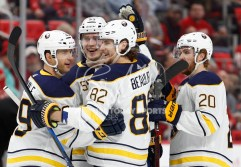 Feb 22, 2018; Detroit, MI, USA; Buffalo Sabres defenseman Rasmus Ristolainen (55) celebrates with defenseman Nathan Beaulieu (82) center Scott Wilson (20) and right wing Jason Pominville (29) after scoring a goal during the first period against the Detroit Red Wings at Little Caesars Arena. Mandatory Credit: Raj Mehta-USA TODAY Sports