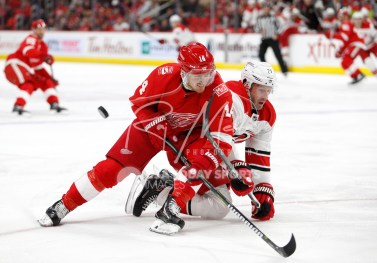 Feb 24, 2018; Detroit, MI, USA; Detroit Red Wings right wing Gustav Nyquist (14) fights for the puck against Carolina Hurricanes right wing Lee Stempniak (21) during the second period at Little Caesars Arena. Mandatory Credit: Raj Mehta-USA TODAY Sports