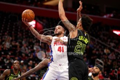 Feb 14, 2018; Detroit, MI, USA; Detroit Pistons guard Jameer Nelson (41) goes up for a shot against Atlanta Hawks forward John Collins (20) during the second quarter at Little Caesars Arena. Mandatory Credit: Raj Mehta-USA TODAY Sports