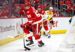 Feb 20, 2018; Detroit, MI, USA; Detroit Red Wings defenseman Danny DeKeyser (65) gets the puck behind the net during the third period against the Nashville Predators at Little Caesars Arena. Mandatory Credit: Raj Mehta-USA TODAY Sports