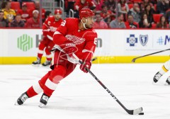 Feb 20, 2018; Detroit, MI, USA; Detroit Red Wings defenseman Trevor Daley (83) skates with the puck during the third period against the Nashville Predators at Little Caesars Arena. Mandatory Credit: Raj Mehta-USA TODAY Sports
