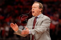 Feb 14, 2018; Detroit, MI, USA; Atlanta Hawks head coach Mike Budenholzer yells out against the Detroit Pistons during the fourth quarter at Little Caesars Arena. Mandatory Credit: Raj Mehta-USA TODAY Sports