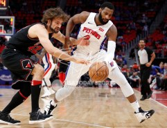 Mar 24, 2018; Detroit, MI, USA; Detroit Pistons center Andre Drummond (0) and Chicago Bulls center Robin Lopez (42) go after the loose ball during the first quarter at Little Caesars Arena. Mandatory Credit: Raj Mehta-USA TODAY Sports