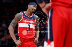 Mar 29, 2018; Detroit, MI, USA; Washington Wizards guard Bradley Beal (3) walks to the bench with his hands on his hips during the second quarter against the Detroit Pistons at Little Caesars Arena. Mandatory Credit: Raj Mehta-USA TODAY Sports