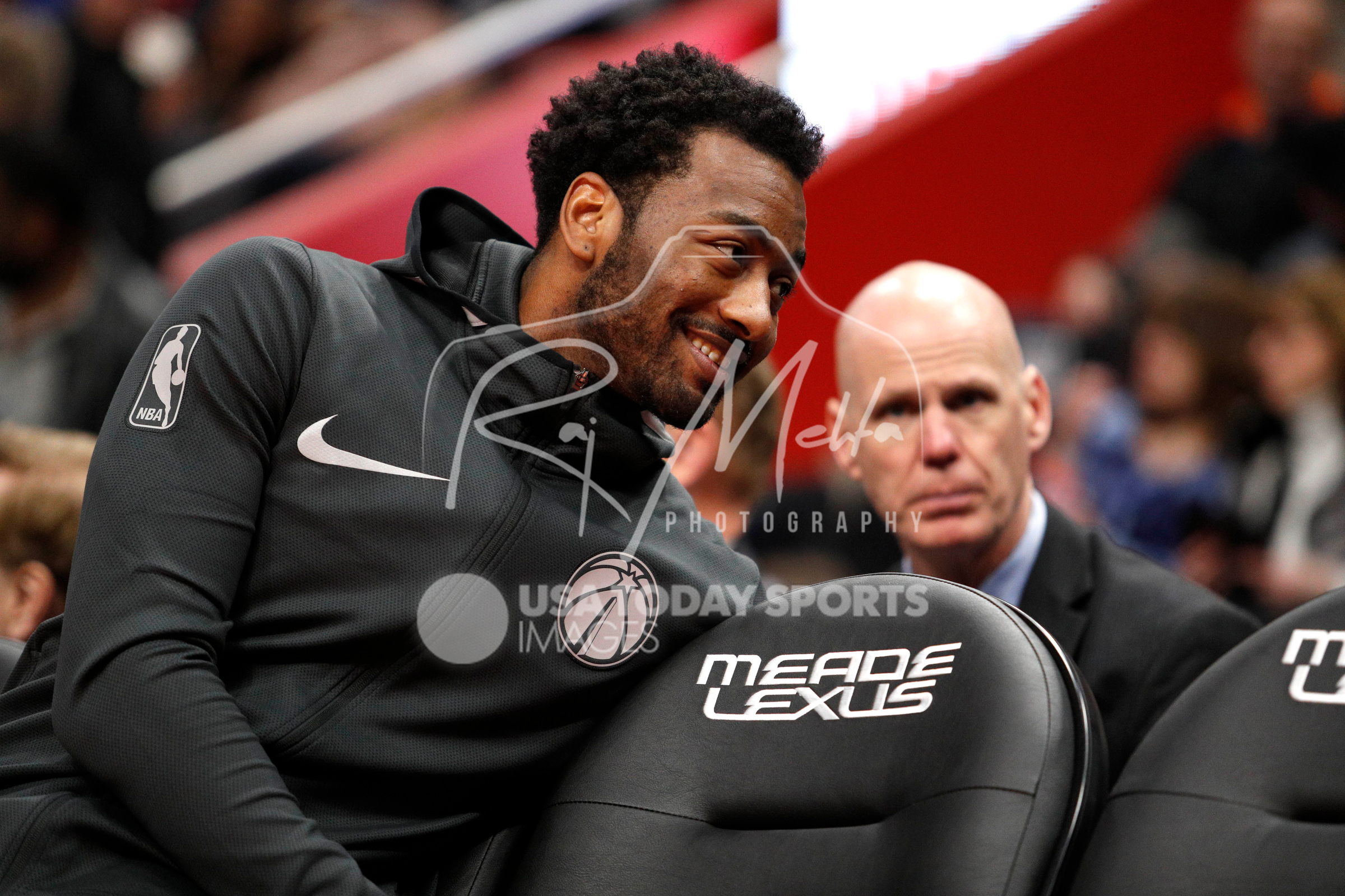 Mar 29, 2018; Detroit, MI, USA; Washington Wizards guard John Wall (2) sits on the bench and smiles during the second quarter against the Detroit Pistons at Little Caesars Arena. Mandatory Credit: Raj Mehta-USA TODAY Sports