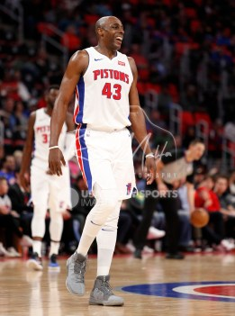 Mar 24, 2018; Detroit, MI, USA; Detroit Pistons forward Anthony Tolliver (43) smiles after a play during the fourth quarter against the Chicago Bulls at Little Caesars Arena. Mandatory Credit: Raj Mehta-USA TODAY Sports