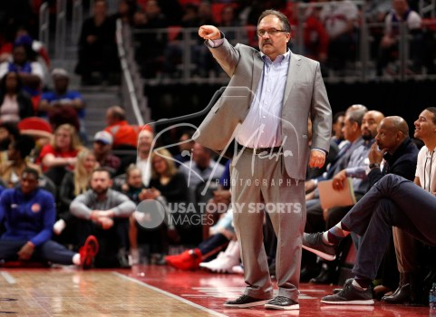 Mar 24, 2018; Detroit, MI, USA; Detroit Pistons head coach Stan Van Gundy points up the court during the fourth quarter against the Chicago Bulls at Little Caesars Arena. Mandatory Credit: Raj Mehta-USA TODAY Sports