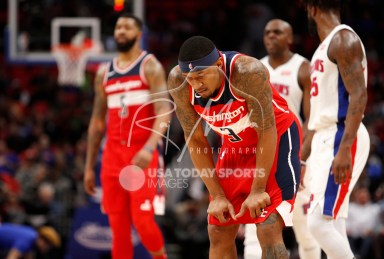 Mar 29, 2018; Detroit, MI, USA; Washington Wizards guard Bradley Beal (3) looks down during the fourth quarter against the Detroit Pistons at Little Caesars Arena. Mandatory Credit: Raj Mehta-USA TODAY Sports