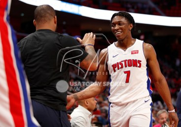 Feb 28, 2018; Detroit, MI, USA; Detroit Pistons forward Stanley Johnson (7) smiles as he walks to the bench during the fourth quarter against the Milwaukee Bucks at Little Caesars Arena. Mandatory Credit: Raj Mehta-USA TODAY Sports