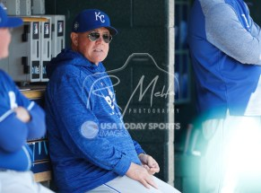 Apr 22, 2018; Detroit, MI, USA; Kansas City Royals manager Ned Yost sits in the dugout before the game against the Detroit Tigers at Comerica Park. Mandatory Credit: Raj Mehta-USA TODAY Sports