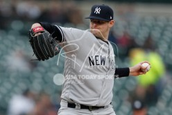 Apr 13, 2018; Detroit, MI, USA; New York Yankees starting pitcher Jordan Montgomery (47) pitches the ball during the first inning against the Detroit Tigers at Comerica Park. Mandatory Credit: Raj Mehta-USA TODAY Sports