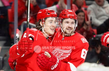 Apr 5, 2018; Detroit, MI, USA; Detroit Red Wings left wing Tyler Bertuzzi (59) celebrates with defenseman Xavier Ouellet (61) after scoring a goal during the second period against the Montreal Canadiens at Little Caesars Arena. Mandatory Credit: Raj Mehta-USA TODAY Sports