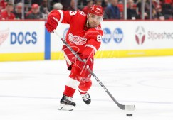 Apr 5, 2018; Detroit, MI, USA; Detroit Red Wings defenseman Trevor Daley (83) passes the puck during the second period against the Montreal Canadiens at Little Caesars Arena. Mandatory Credit: Raj Mehta-USA TODAY Sports